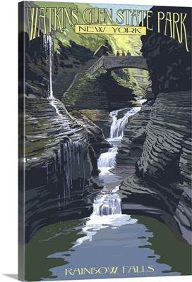 Watkins Glen State Park, New York - Rainbow Falls: Retro Travel Poster