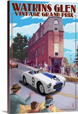 Watkins Glen State Park, New York - Vintage Grand Prix: Retro Travel Poster