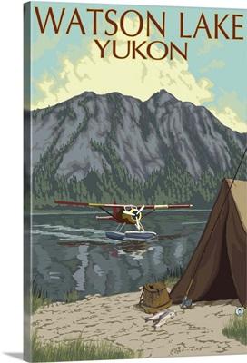 Watson Lake, Yukon - Bush Plane: Retro Travel Poster