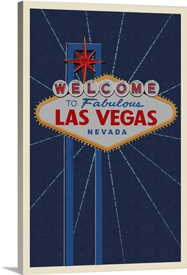 Welcome to Las Vegas Sign - Letterpress: Retro Travel Poster