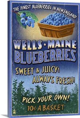Wells, Maine, Blueberry Vintage Sign