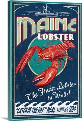 Wells, Maine, Lobster Boat, Vintage Sign