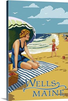 Wells, Maine, Woman on Beach