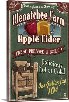 Wenatchee, Washington - Apple Cider Vintage Sign: Retro Travel Poster