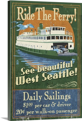 West Seattle Ferry Vintage Sign: Retro Travel Poster
