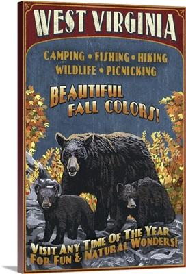 West Virginia - Black Bear Family Vintage Sign: Retro Travel Poster