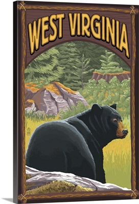West Virginia - Black Bear in Forest: Retro Travel Poster