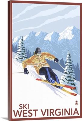 West Virginia - Downhill Skier Scene: Retro Travel Poster