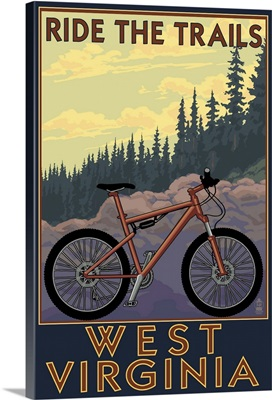 West Virginia - Ride the Trails: Retro Travel Poster