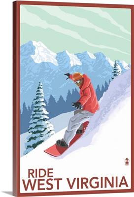 West Virginia - Snowboarder: Retro Travel Poster