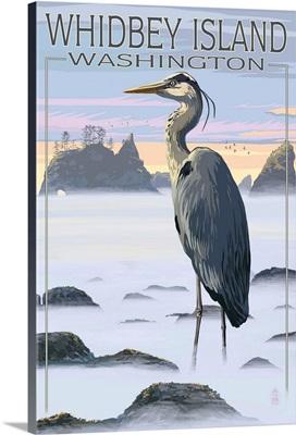 Whidbey Island, Washington - Blue Heron: Retro Travel Poster