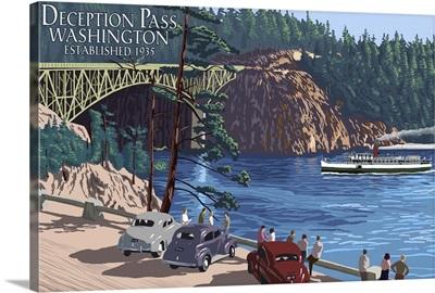 Whidbey Island, Washington - Deception Pass Bridge: Retro Travel Poster