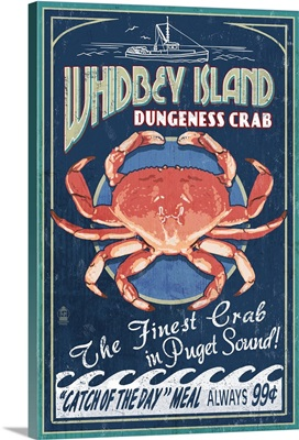 Whidbey Island, Washington - Dungeness Crab Vintage Sign: Retro Travel Poster