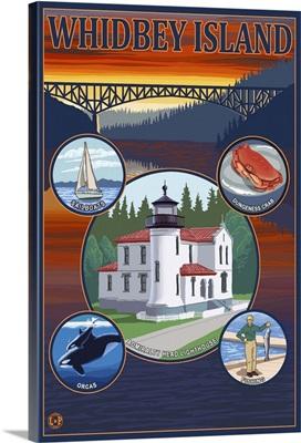Whidbey Island, Washington: Retro Travel Poster