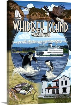 Whidbey Island, Washington - Scenes: Retro Travel Poster