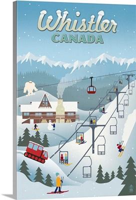 Whistler Village Retro Scene - Whistler, Canada: Retro Travel Poster