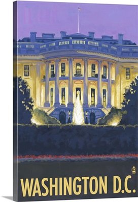 White House - Washington DC: Retro Travel Poster