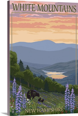 White Mountains, New Hampshire - Bears and Spring Flowers: Retro Travel Poster