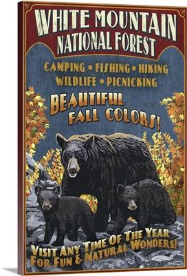 White Mountains, New Hampshire - Black Bear Vintage Sign: Retro Travel Poster