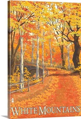 White Mountains, New Hampshire - Fall Colors: Retro Travel Poster