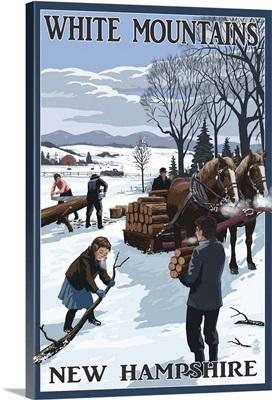 White Mountains, New Hampshire - Firewood Gathering: Retro Travel Poster