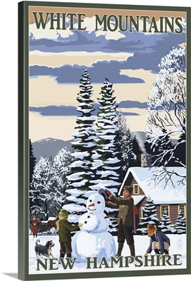 White Mountains, New Hampshire - Snowman and Cabin: Retro Travel Poster
