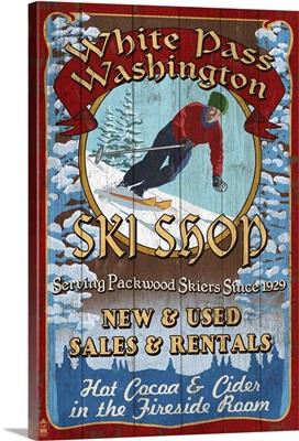 White Pass, Washington, Ski Shop Vintage Sign