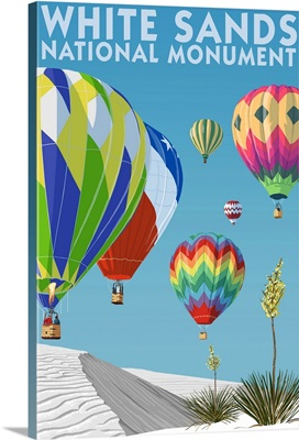White Sands National Monument, New Mexico - Hot Air Balloons: Retro Travel Poster