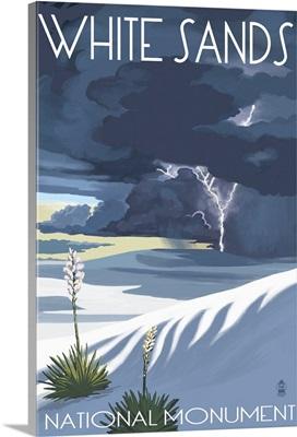 White Sands National Monument, New Mexico - Lightning Storm: Retro Travel Poster