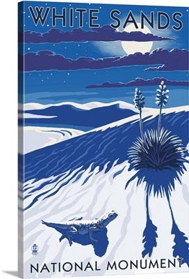 White Sands National Monument, New Mexico - Night Scene: Retro Travel Poster