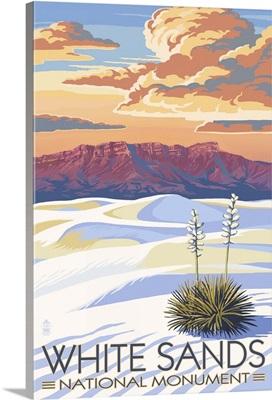 White Sands National Monument, New Mexico - Sunset Scene: Retro Travel Poster
