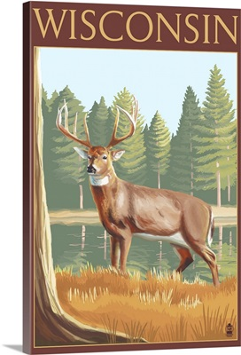 White-tailed Deer - Wisconsin: Retro Travel Poster