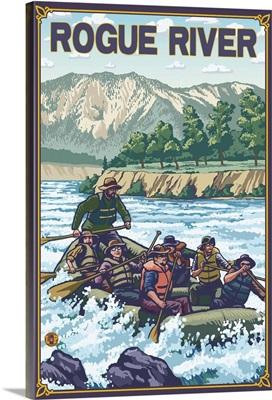 White Water Rafting - Rogue River, Oregon: Retro Travel Poster