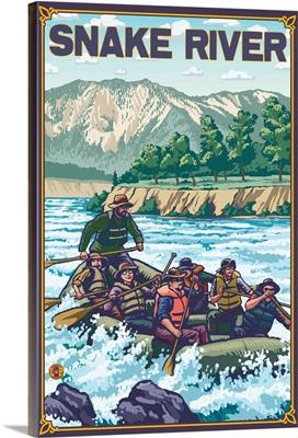 White Water Rafting - Snake River, Idaho: Retro Travel Poster