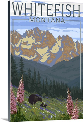 Whitefish, Montana - Bear and Spring Flowers: Retro Travel Poster