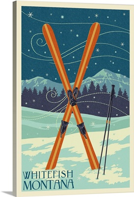 Whitefish, Montana - Crossed Skis - Letterpress: Retro Travel Poster