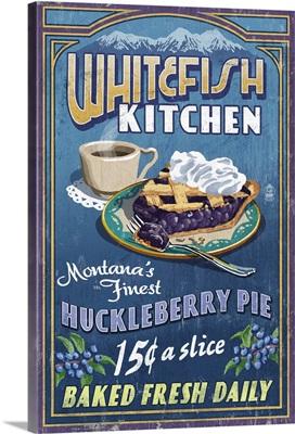 Whitefish, Montana - Huckleberry Vintage Sign: Retro Travel Poster