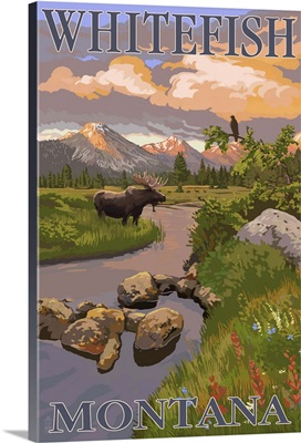 Whitefish, Montana - Moose and Meadow: Retro Travel Poster