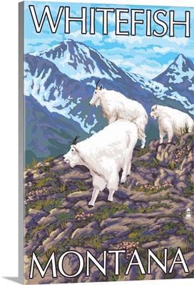 Whitefish, Montana - Mountain Goat Family: Retro Travel Poster