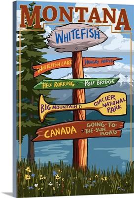 Whitefish, Montana - Sign Destinations: Retro Travel Poster