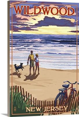 Wildwood, New Jersey - Beach and Sunset: Retro Travel Poster