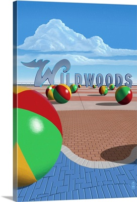 Wildwood, New Jersey - Beach Balls and Sign: Retro Travel Poster