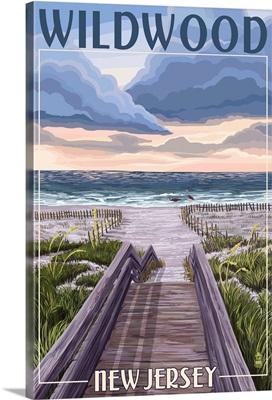 Wildwood, New Jersey - Beach Boardwalk Scene: Retro Travel Poster