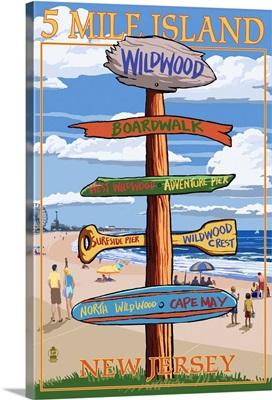 Wildwood, New Jersey - Destination Sign: Retro Travel Poster