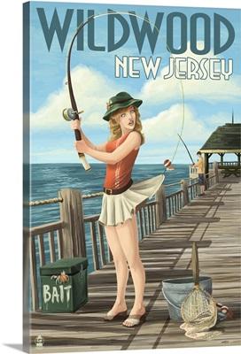 Wildwood, New Jersey - Fishing Pinup Girl: Retro Travel Poster