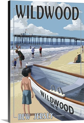 Wildwood, New Jersey - Lifeboat and Pier: Retro Travel Poster