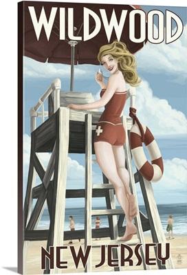 Wildwood, New Jersey - Lifeguard Pinup Girl: Retro Travel Poster