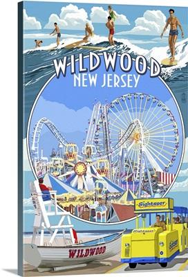 Wildwood, New Jersey - Montage: Retro Travel Poster