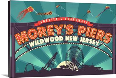 Wildwood, New Jersey - Morey's Pier Marquee: Retro Travel Poster