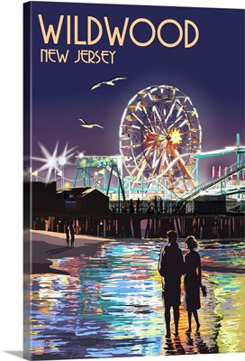 Wildwood, New Jersey - Pier and Rides at Night: Retro Travel Poster